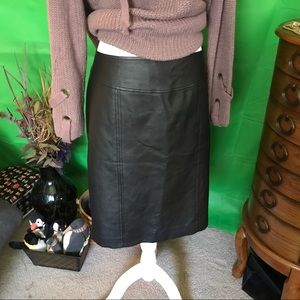 Black faux leather midi skirt from Evan Picone. 16